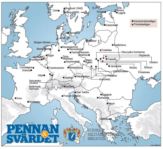 Karta Europa Andra Varldskriget.Karta Utvisande Koncentrationslager Och Forintelselager Under Andra