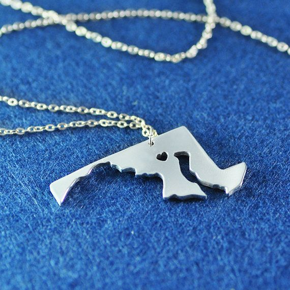 925 Sterling Silver heart Maryland  Necklace map by ZXBjewelry
