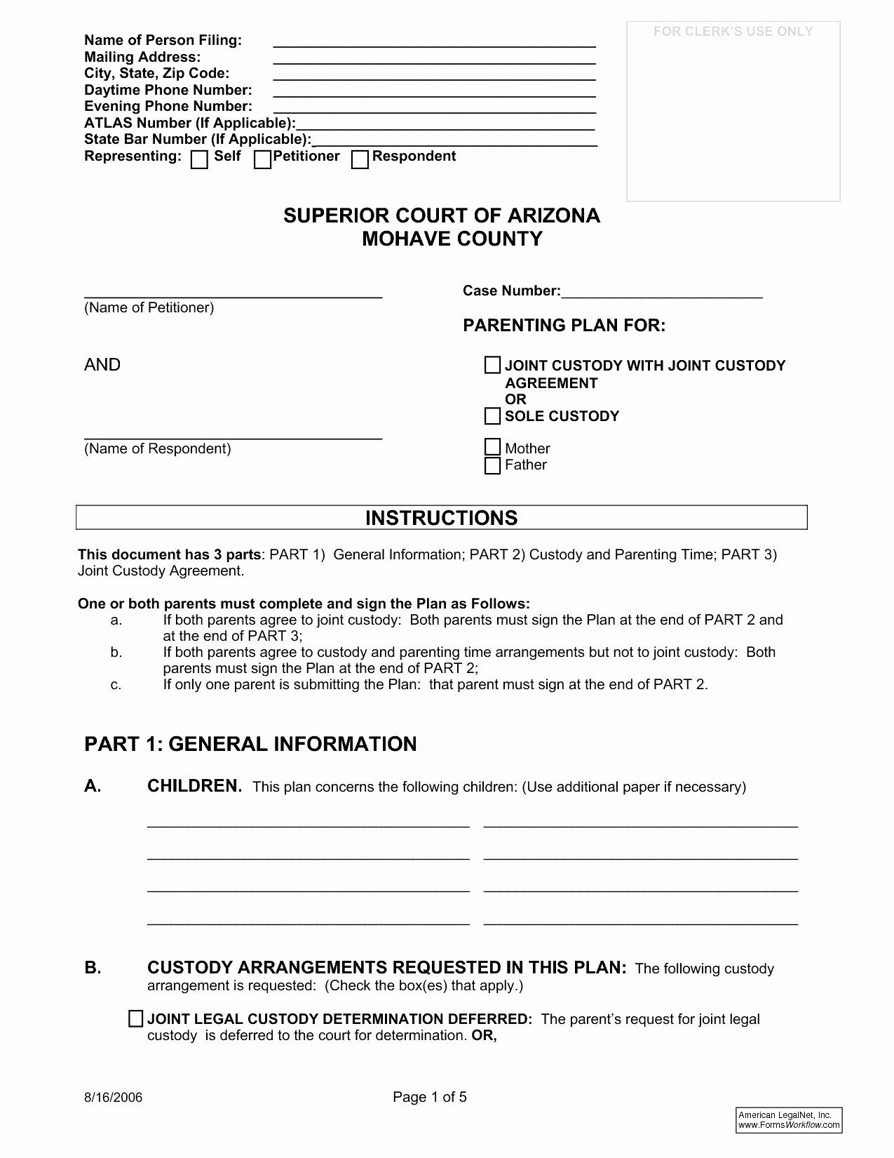 Sample Joint Custody Agreements In