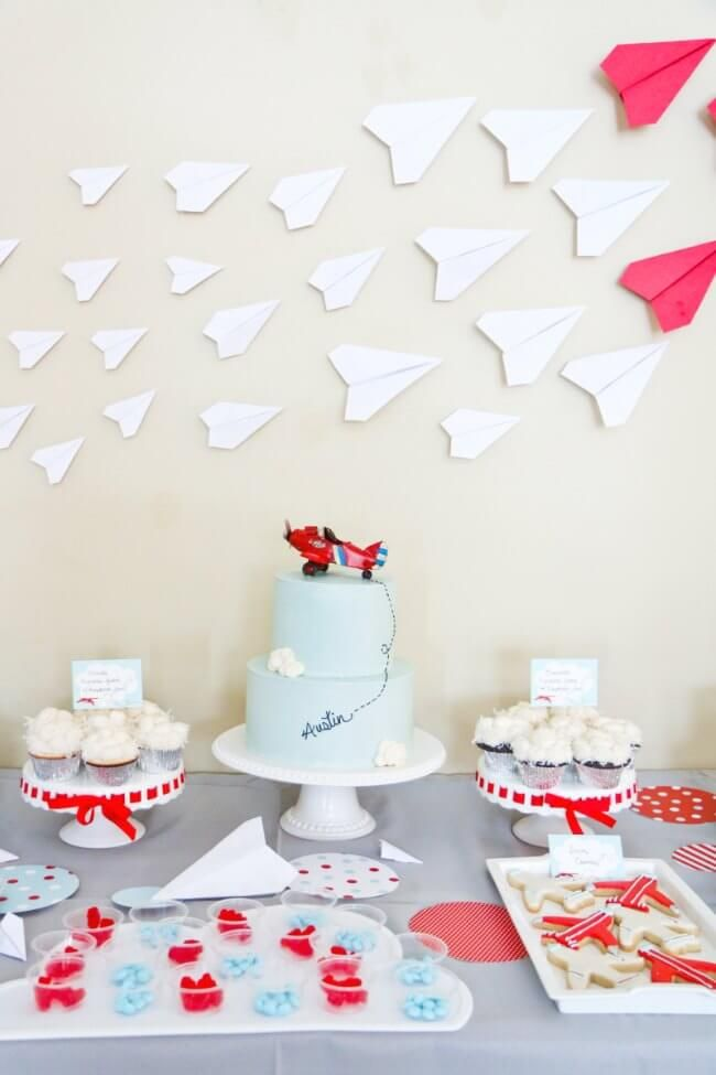 Airplane Themed Birthday Party Backdrop Party Idea Celebrations