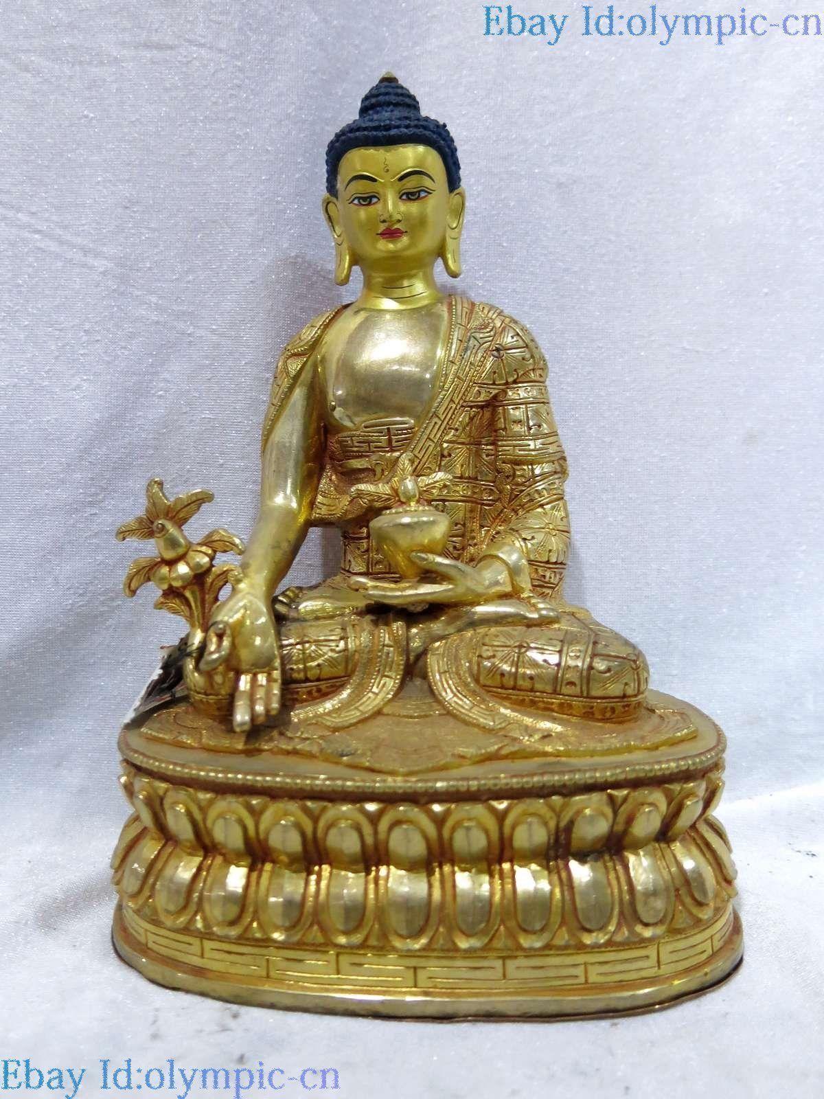 Tibet Bronze Gilt Gold Fine Lucky Buddhism Apothecary Medicine Buddha