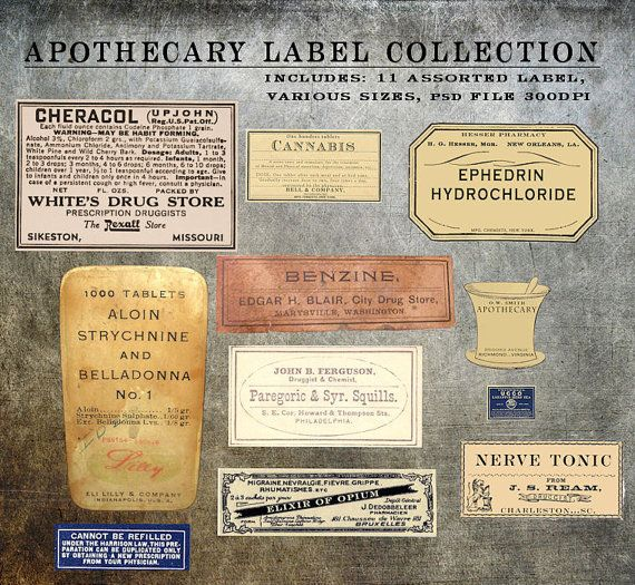 Digital Antique Apothecary label elements Templates collection psd - abel templates psd