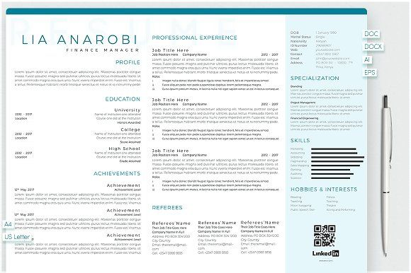 Hobbies For Resume Endearing Anarobi Portrait & Landscape Resume  Template