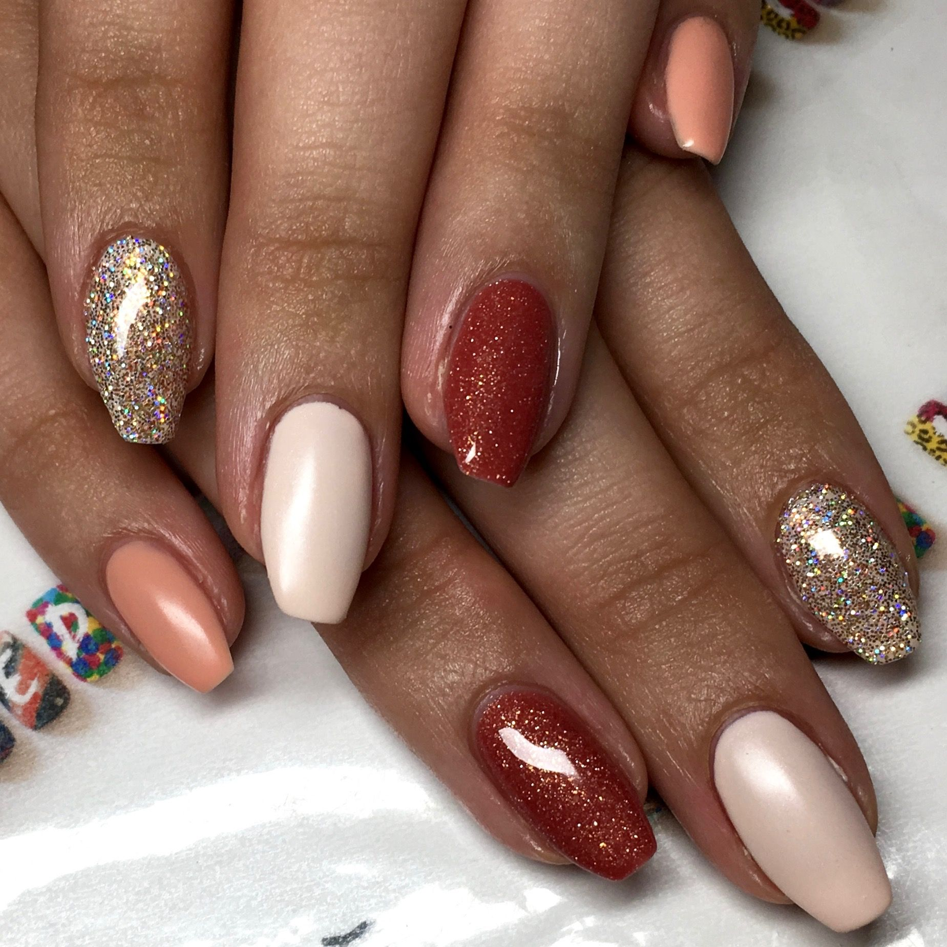nude natural gel polish coffin nails with magpie glitter nail art ...