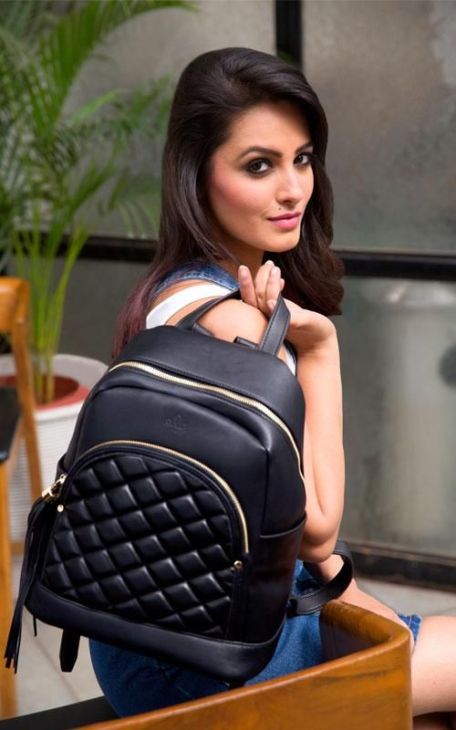 Kivalina Backpack Black Anita Hassanandani Celebrities Black Backpack Black Backpacks