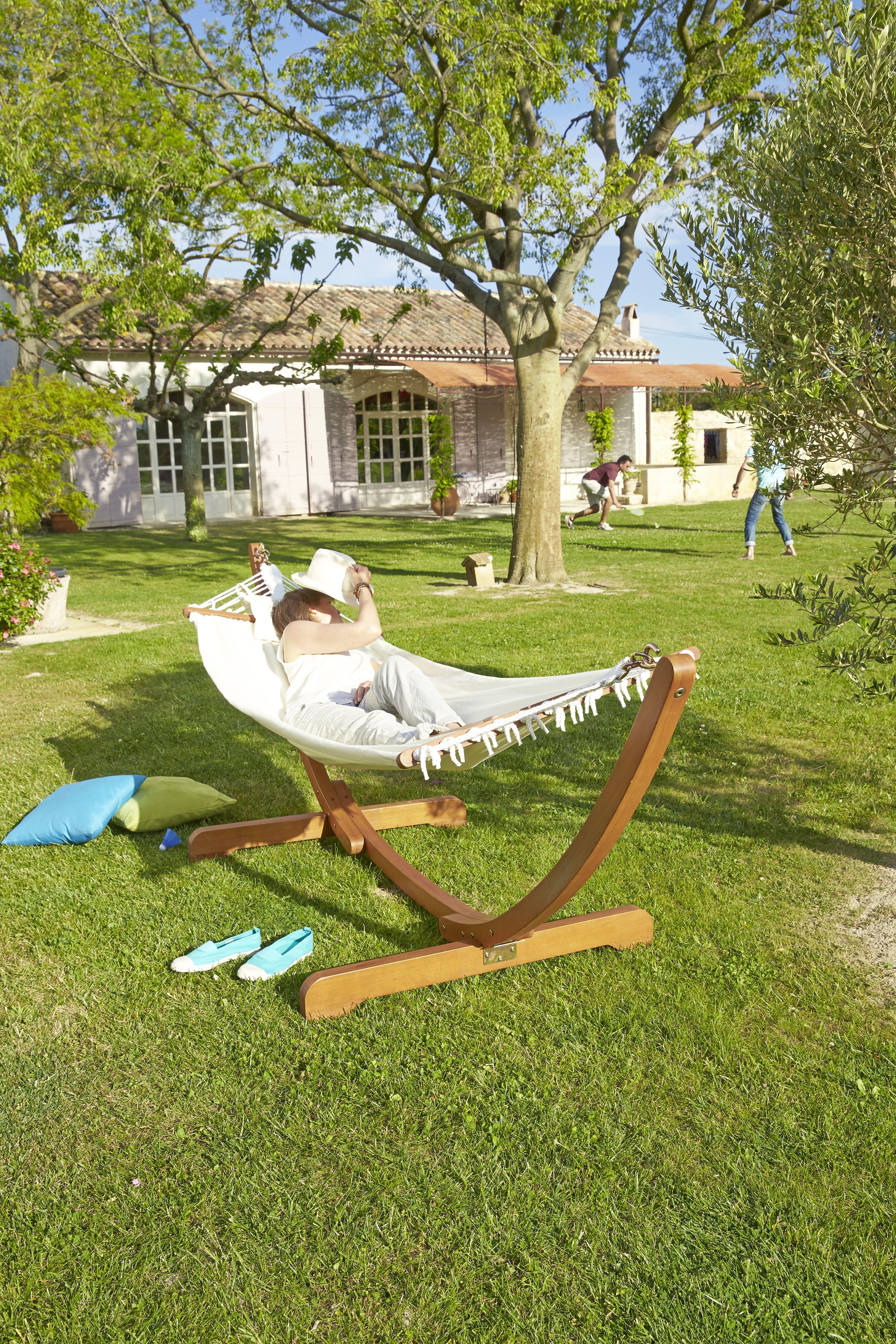 Hamac Sumba En Eucalyptus Fsc Finition Teint Et Huil Et Toile  # Table De Jardin Hyba