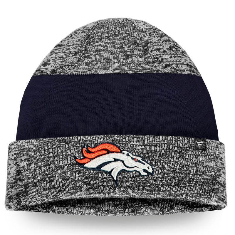 f15ca380 Denver Broncos NFL Pro Line Static Cuffed Knit Hat - Heathered Gray ...