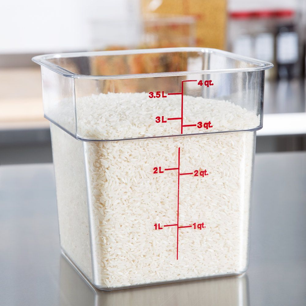 Cambro 4sfscw135 4 Qt Clear Square Polycarbonate Food Storage Container With Winter Rose Gradations Food Storage Containers Cambro Food Storage