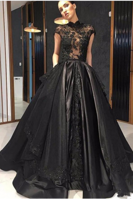Black Lace Formal Celebrity Evening Dresses High Neck See Through Red  Carpet Prom Party Gowns With Detachable Skirt 9360f4f77