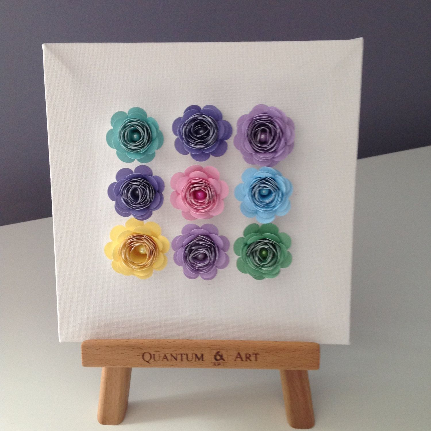 Paper Flower Wall Art - Mini canvas with paper roses ...