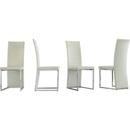 Chelsea Lane Side Chair, Set Of 4, White Faux Leather