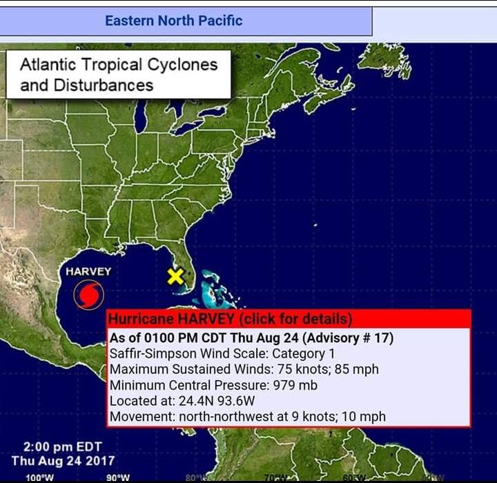 NOAA Advisory Number 17 For Hurricane Harvey On August 24 2017 As It Was Upgraded From A Tropical Storm To Category 1