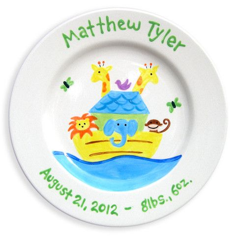 Noah's Ark Boys Hand-Painted Ceramic Plate | Jack and Jill Boutique