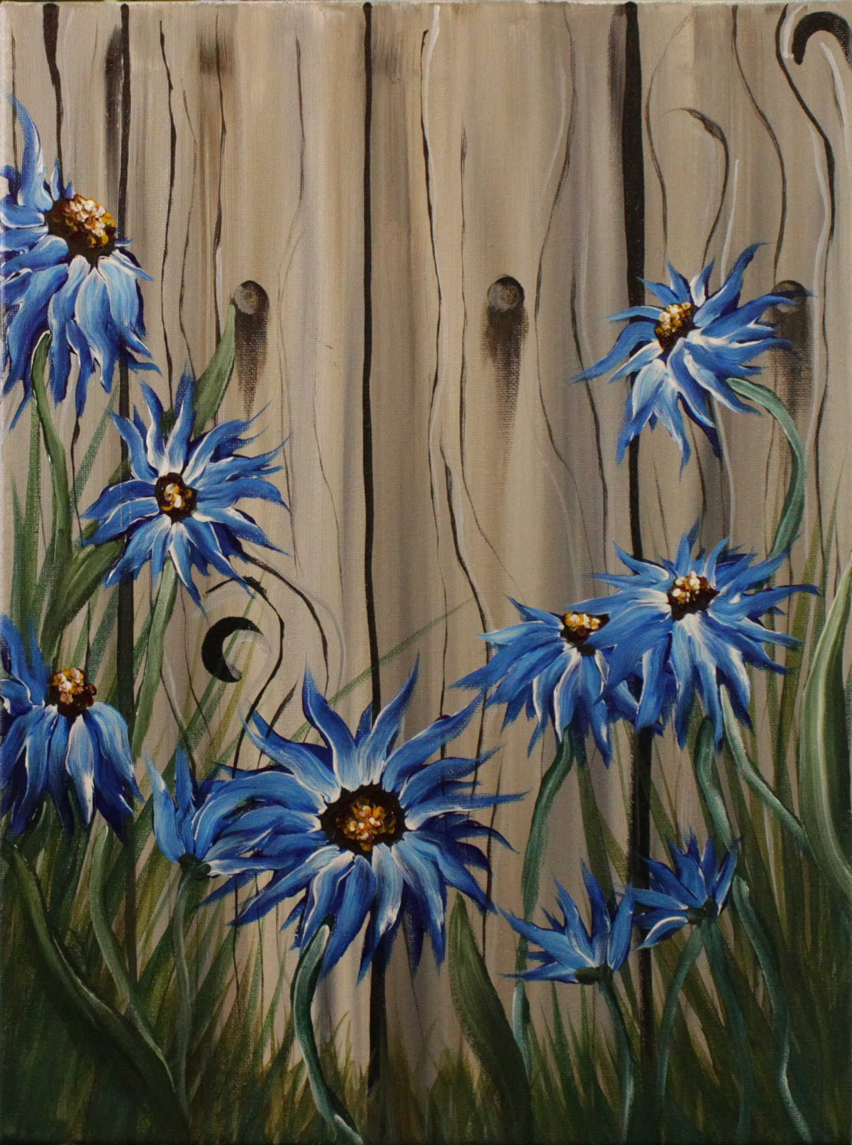 Summer Flowers on the Fence Step by Step Acrylic Painting on Canvas for