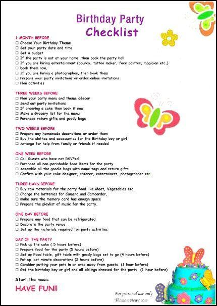 birthday party checklist birthdays