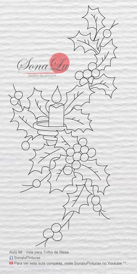 T t holly candle art and craft pinterest navidad - Dibujos navidenos para pintar en tela ...