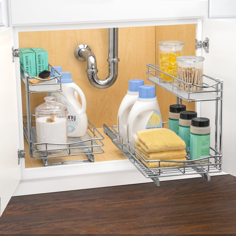 Lynk Professional Slide Out Under Sink 11 5 X 21 Pull Out Drawer Under Kitchen Sink Organization Bathroom Cabinet Organization Under Kitchen Sinks