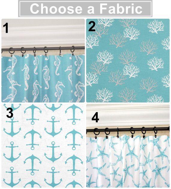Aqua Curtains.Anchors Window Curtains.Aqua Kitchen