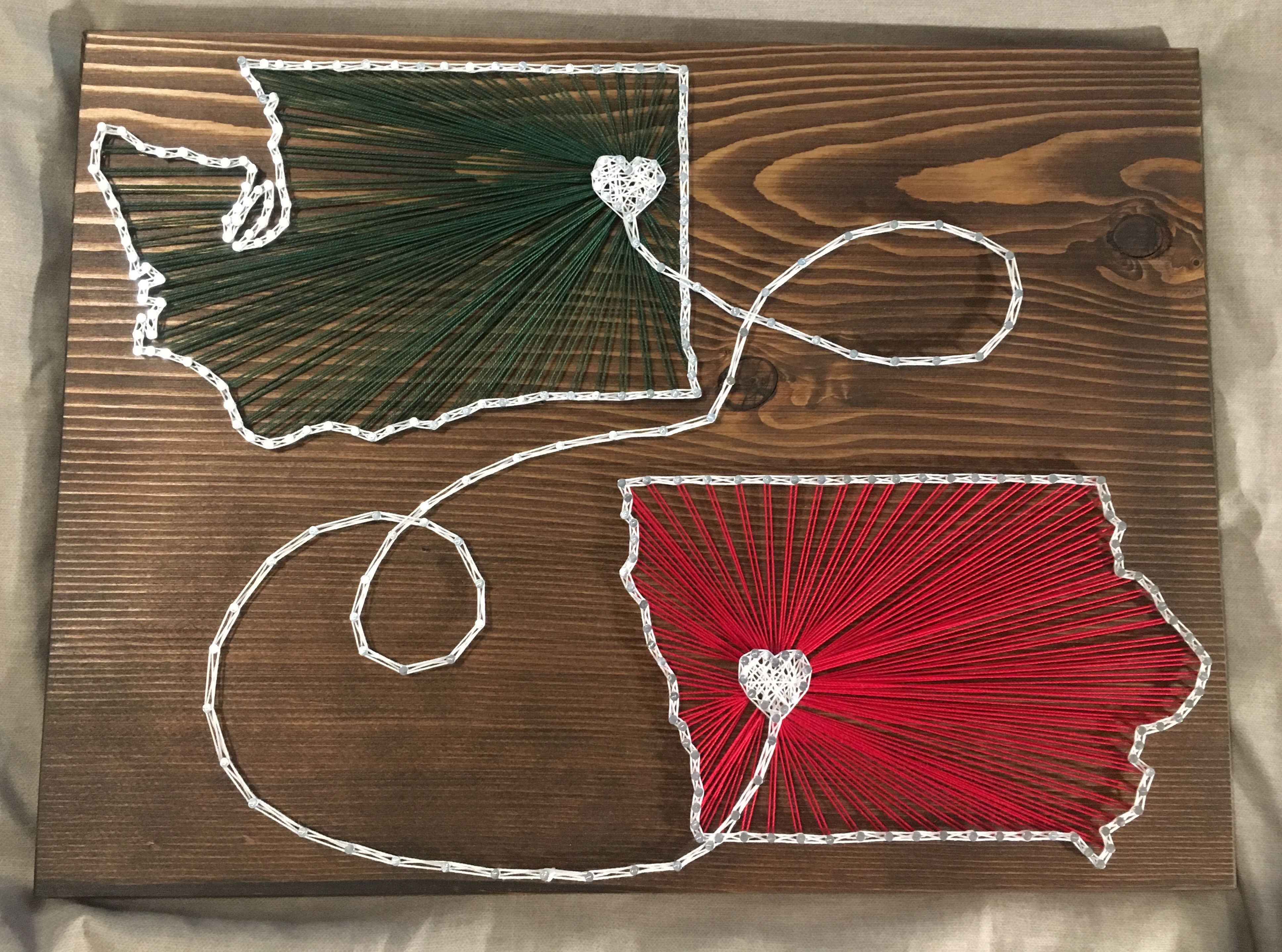 CUSTOM Two States Countries String Art Sign