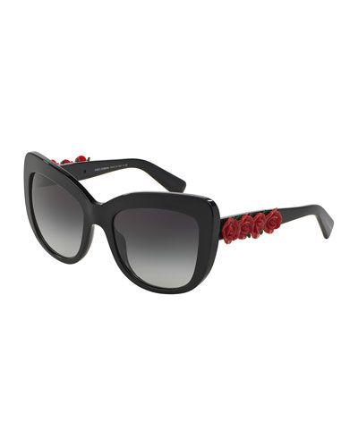 66f7ff83416 D0Y09 Dolce & Gabbana Catwalk Roses Sunglasses, Black/Red | NICE ...