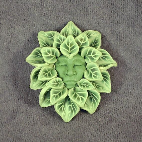 Green Man Brooch- possibly re-create in clay?