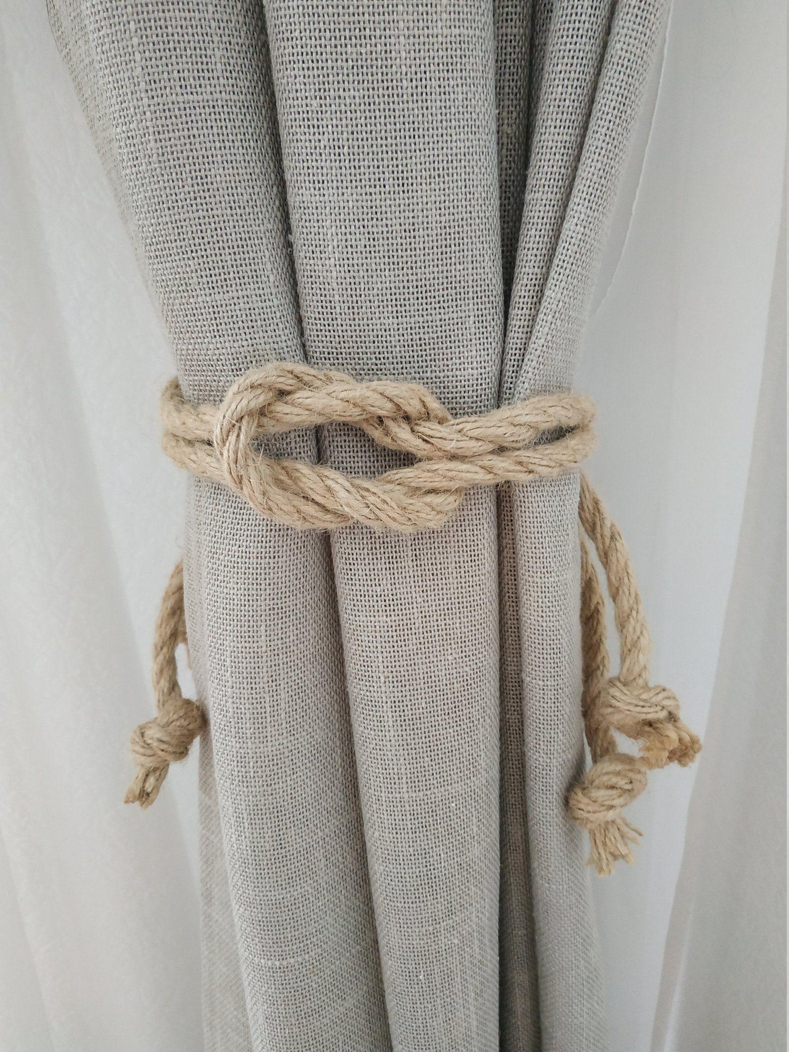 Square Knot Curtain Tie Back Beach Decor Jute Rope Curtain Etsy Rope Decor Rope Curtain Tie Back Curtain Tie Backs