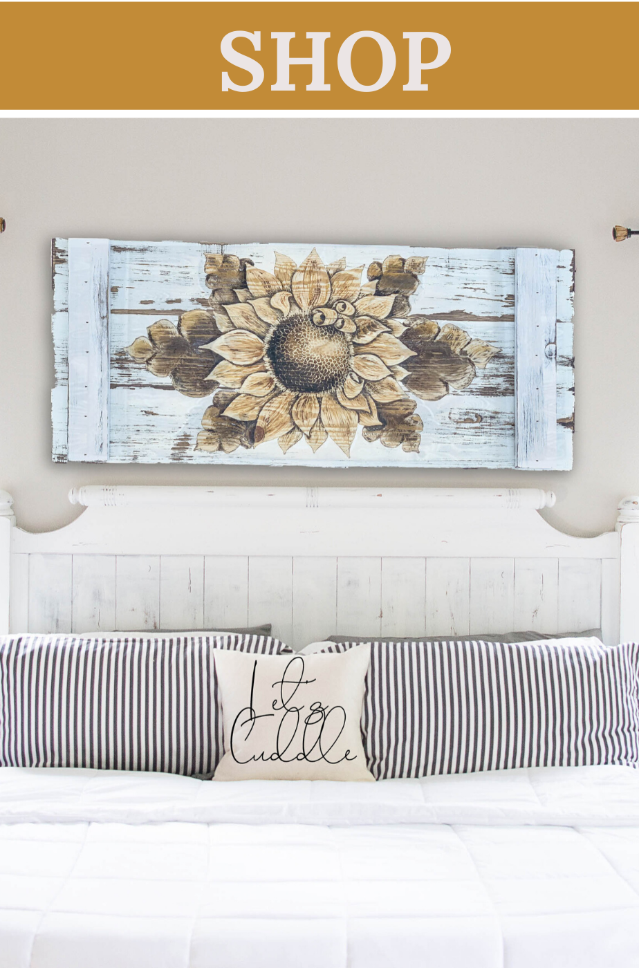 Sunflower Wall Hanging In Distressed White In 2020 With Images Rustic Wall Art Country Decor Rustic Wood Wall Art