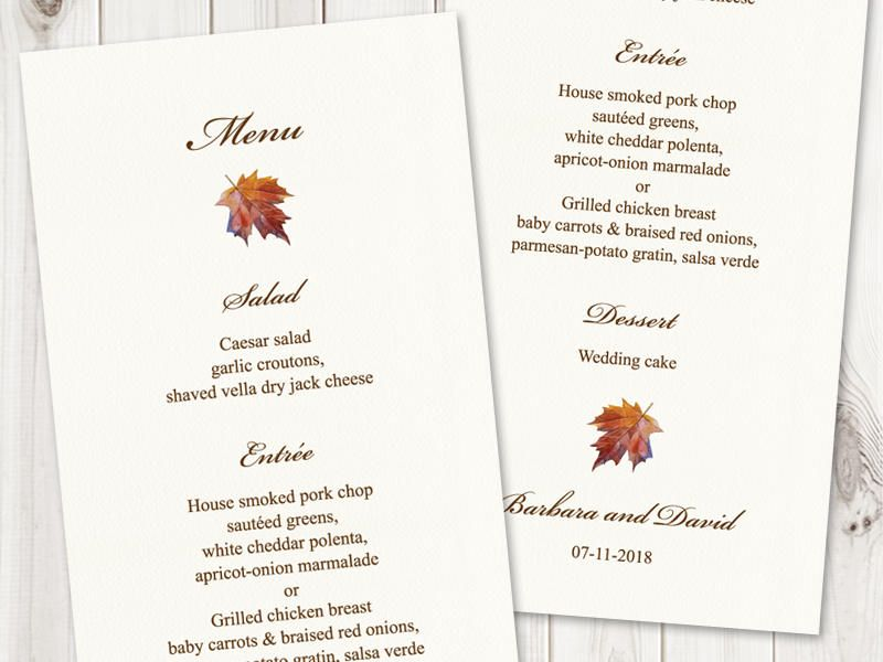 watercolor wedding menu template fall in love brown diy