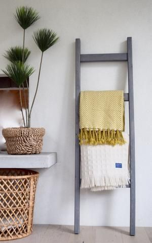 Photo of 5 Ft Wooden Decorative Blanket Ladder | 4 Rung, Stained Weathered Gray