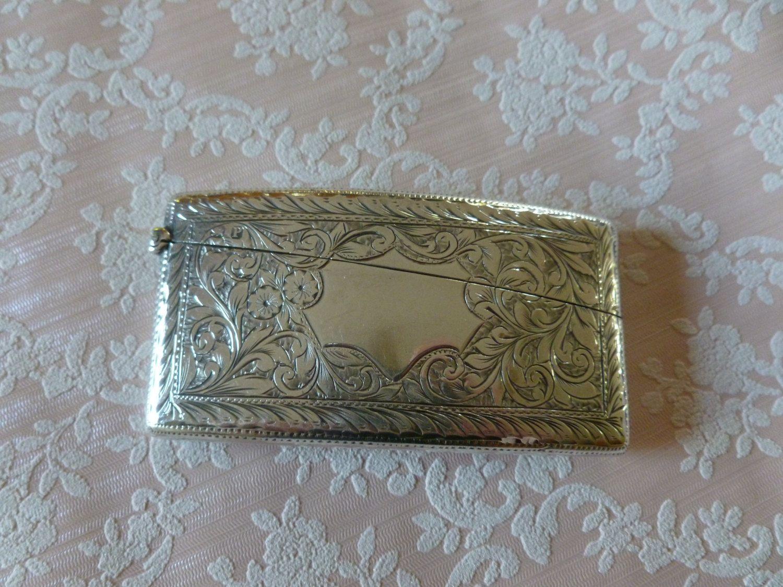 Antique Victorian Sterling Silver Card Case Chester Hallmark 1898 ...