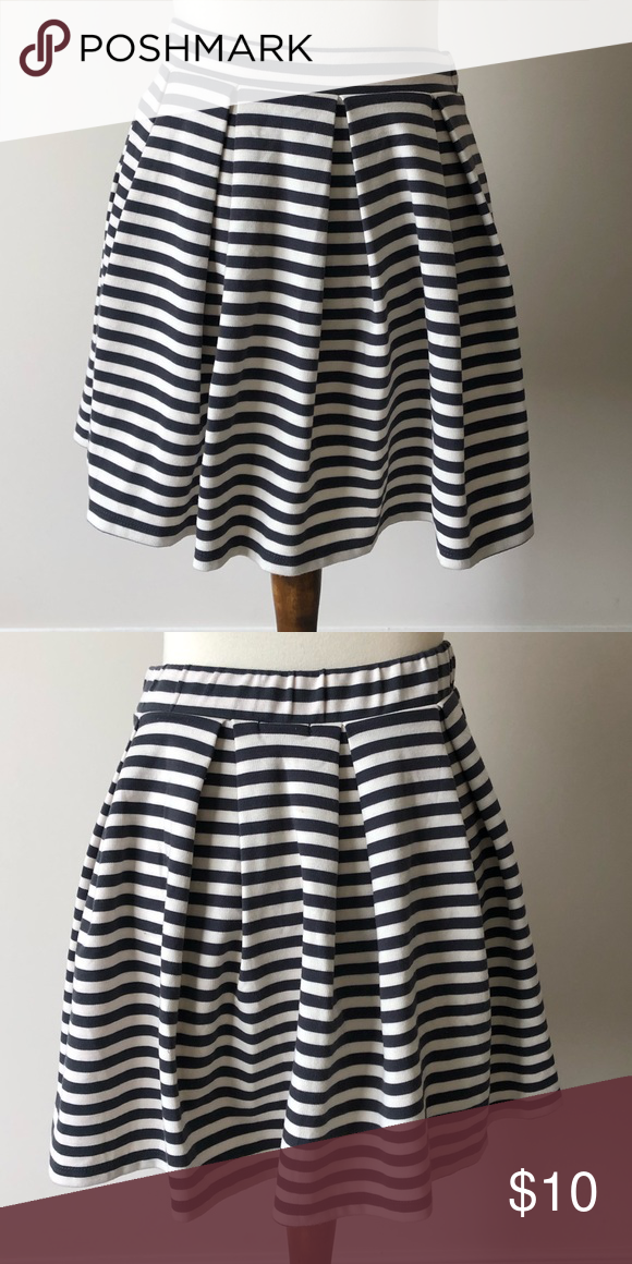 1373c22742 Grey and white horizontal striped skirt Pleated gray and white skirt with  an elastic waistband. Nice thick material. 67% polyester, 31% rayon, ...