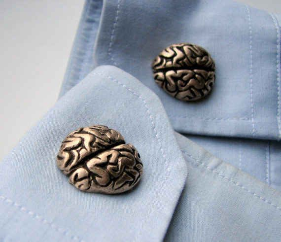 Brass Brain Cuff Links!! I will literally by myself a tuxedo or suit just for these!!