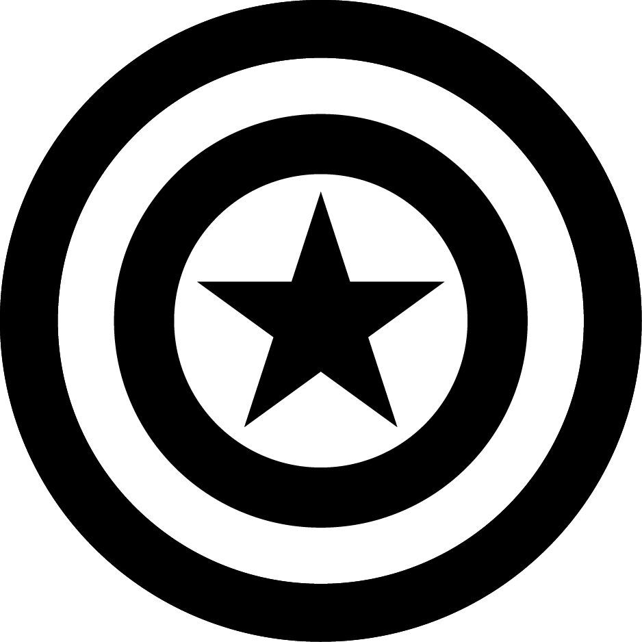 captain america shield logo black and white wwwpixshark