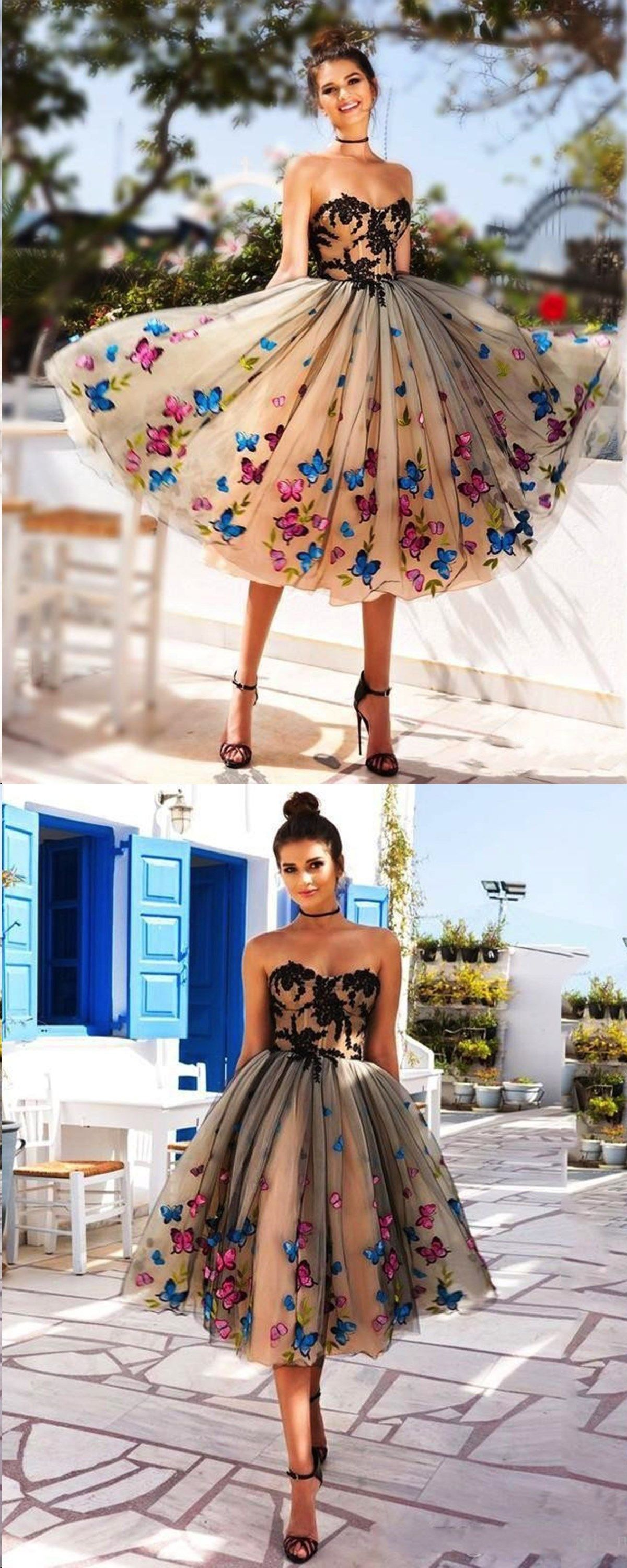Black homecoming dress sweetheart butterfly aline beautiful short