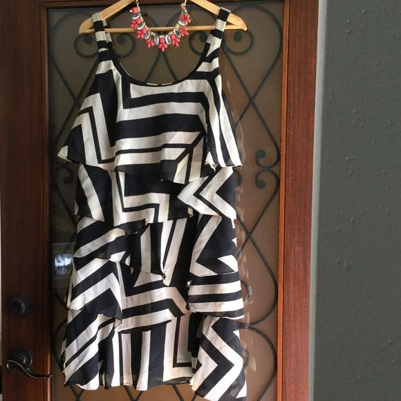 RB collection black and taupe tiered ruffle dress Worn and loved. Size 12. Not perfect condition but still super cute and lots of life left! RB Collection Dresses