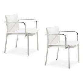 Zuo Modern Set Of 2 Gekko White Reception Chairs 404142