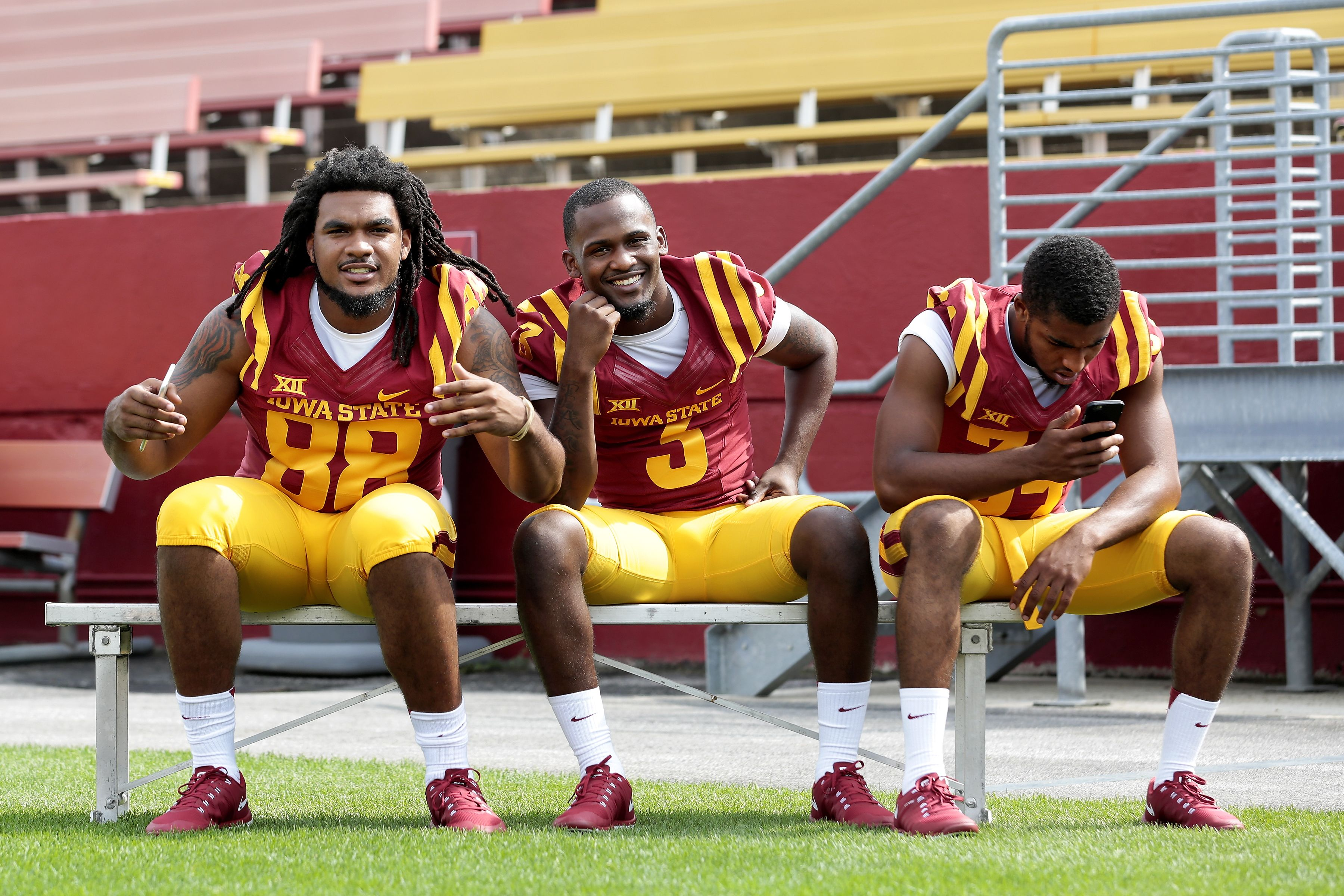 Iowa State S Justin Chandler Mike Johnson And Nigel Tribune Take In Media Day On Thursday Photo By Bria Football Notebook Iowa State Cyclones Sport Football