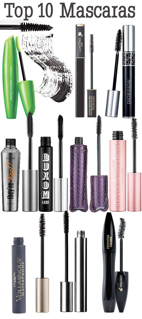 Top 10 Mascaras.   Skin care reviews, Mascaras and Makeup