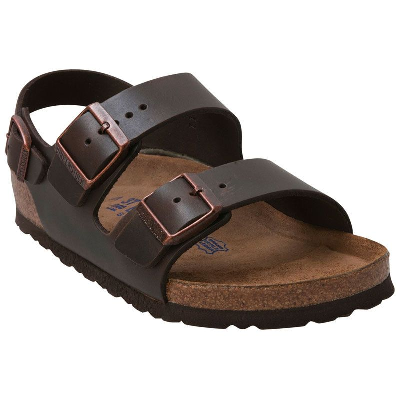 c679e1364323 Shop Birkenstock Milano Soft Footbed Sandals in Brown Oiled Leather for Men  and Women at http