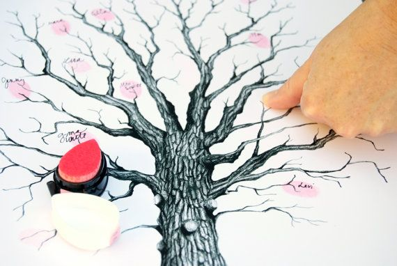 Black Guest Book Tree with Calligraphy by EricaHCalligraphy