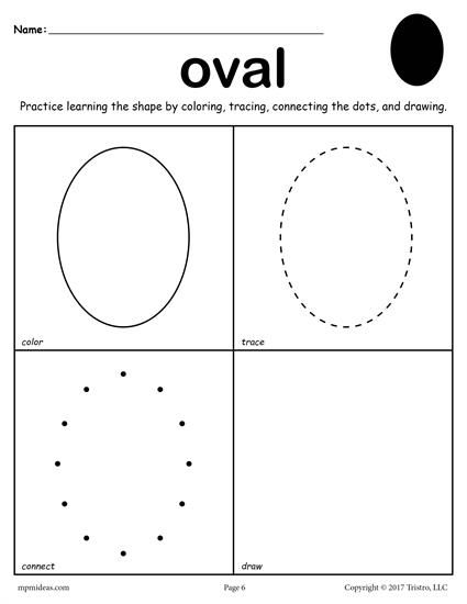 12 shapes worksheets color trace connect draw pinterest