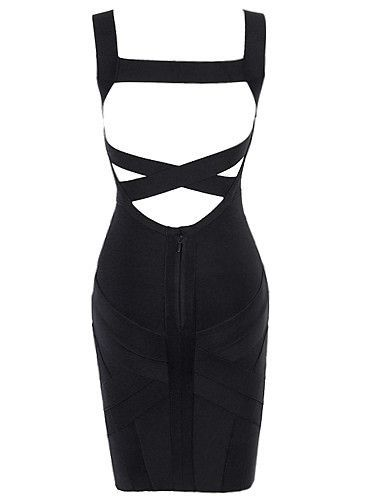 Sexy Back Criss Cross Design Ebony Bodycon Laura Dress
