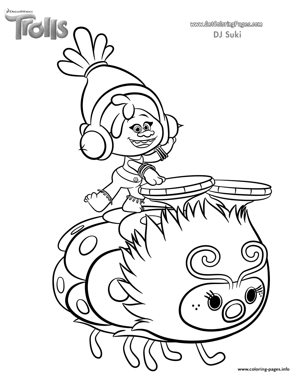 Print Dj Suki Of Trolls Movie Coloring Pages Poppy Coloring Page