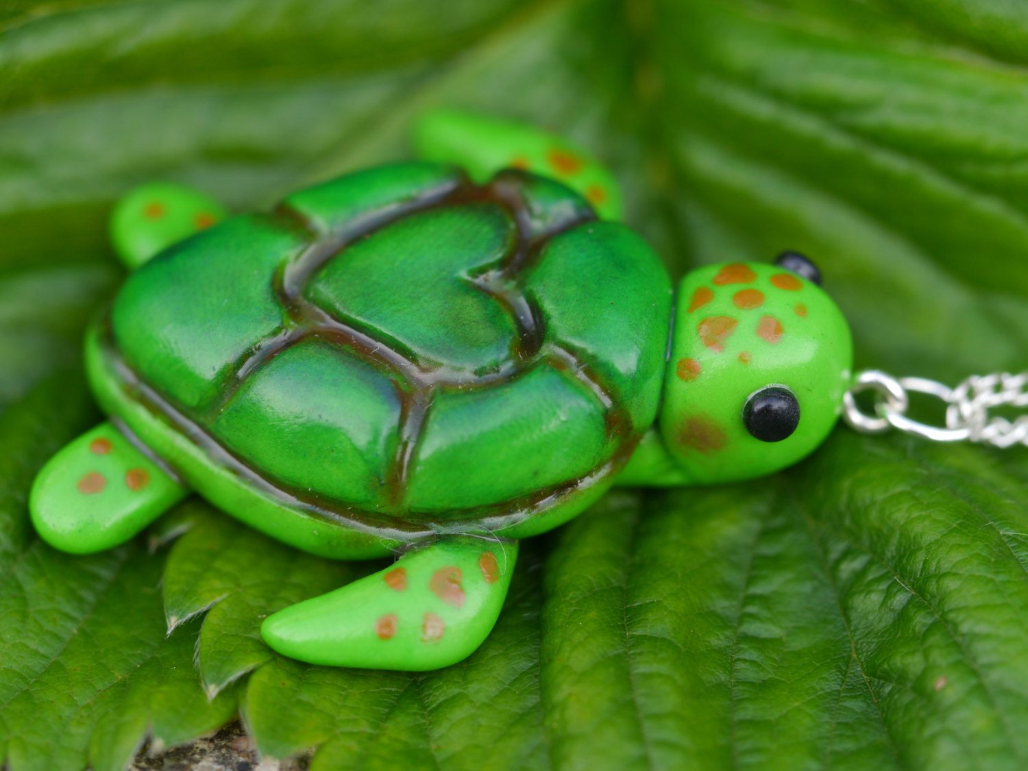 Green hand made polymer clay sea turtle necklace silver ...