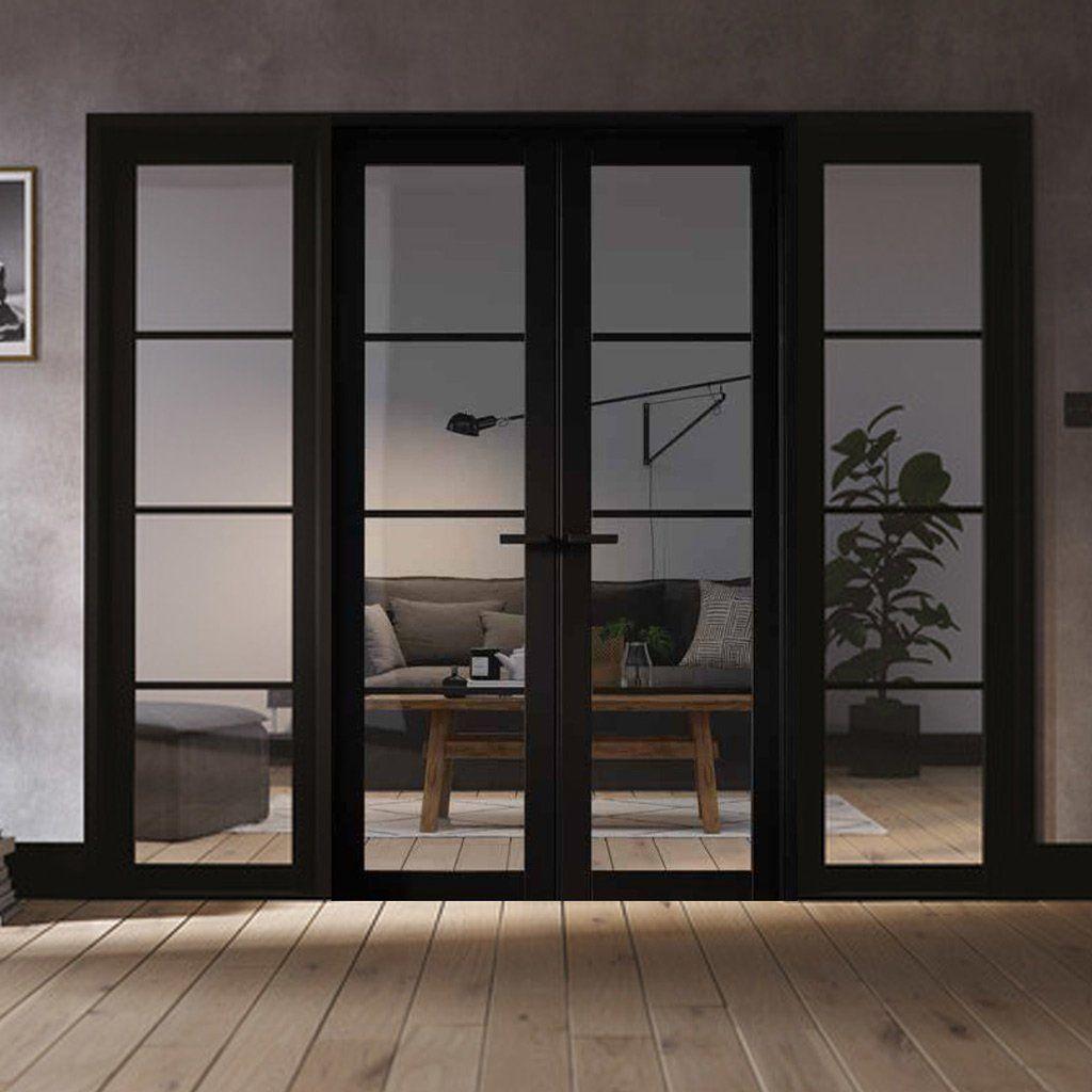 W8 Soho Room Divider Door Frame Kit Clear Glass Black Primed 2031x2478mm Wide Room Divider Doors Soho Rooms Room Divider