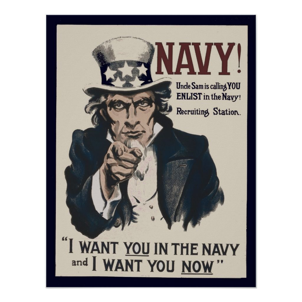 Vintage Uncle Sam Navy Ww1 Recruiting Poster Custom Posters