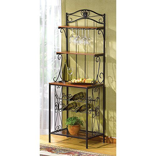 Baker Style Wine And Glass Rack Wood And Metal Kitchen 68 Tall