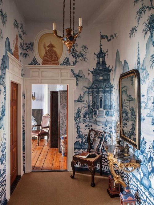 Blue Willow Style Mural Beautiful Interiors Interior