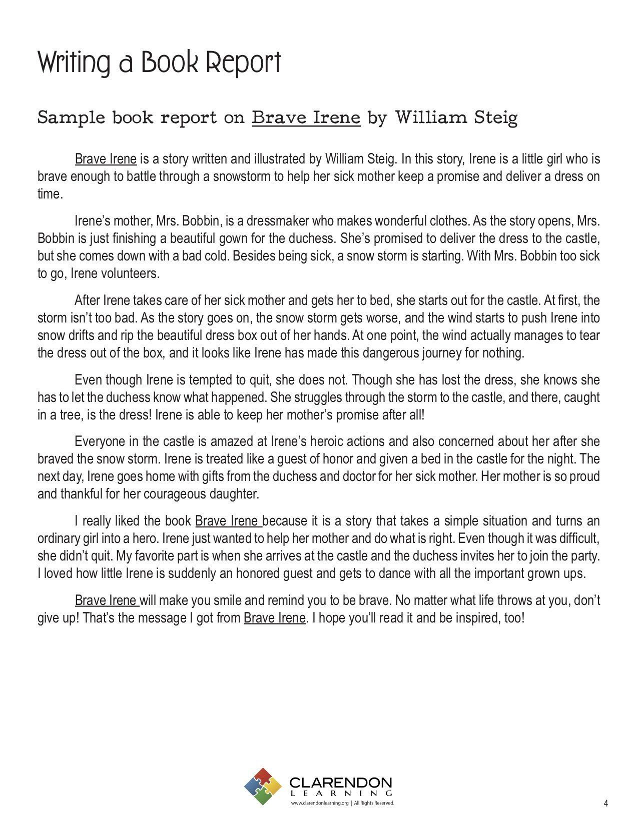 Sample Of Book Report Writing A Book Report In