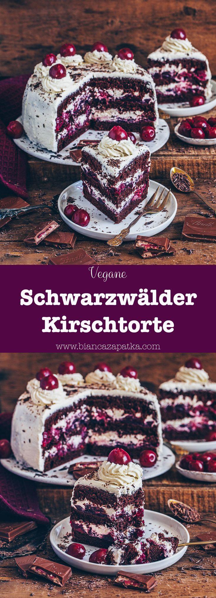 Vegane Schwarzwälder Kirschtorte (einfaches Rezept) - Bianca Zapatka | Rezepte #kuchenkekse